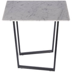 Salvatori Small Square Dritto Side Table in Bianco Carrara by Piero Lissoni
