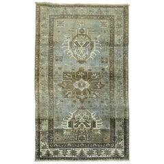 Persian Heriz Rug in Gray Blue Color