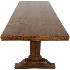 French Oak Monastery Table or Dining Table from Normandy, Thick Top, Seats Eight