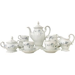 1950'S German Porcelain and Platinum Coffee or Tea Set of 17 Pieces by Haviland