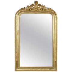 19th Century French Giltwood Louis Philippe Mirror with Regency Flourish