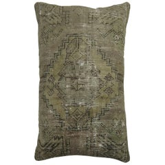 Worn Lumbar Turkish Rug Pillow in Lavender Tones