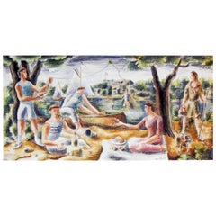 Picnic by the River, WPA-Era Mural Study with Sailboats and Kite, Detroit Artist