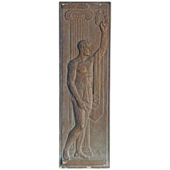 """Greek Athlete with Laurel Wreath,"" Unique Sculptural Panel, Nude Male Figure"