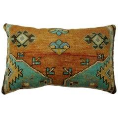 Turkish Rug Floor Pillow in Orange and Green