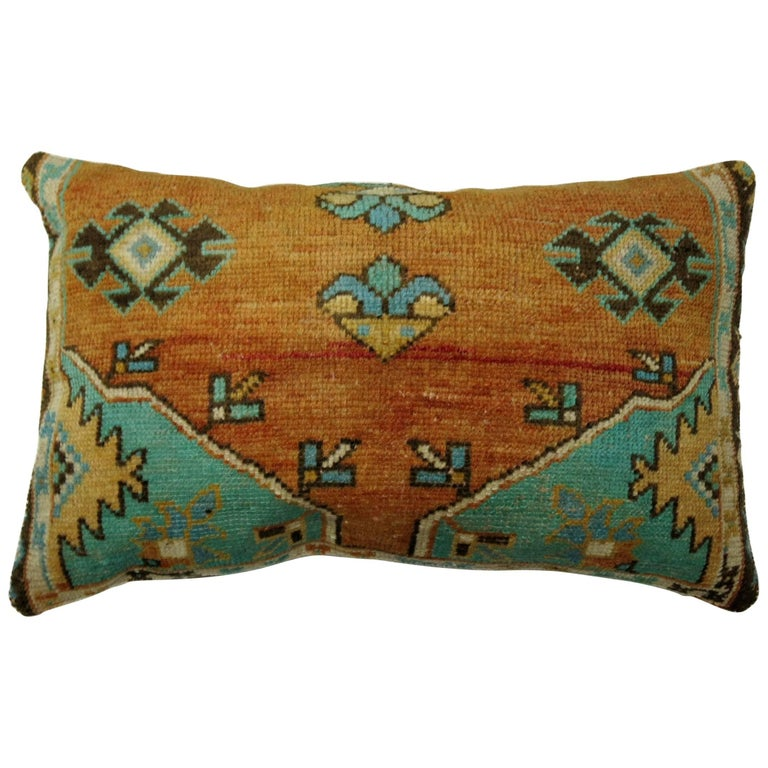 Large Orange Floor Pillows : Turkish Rug Floor Pillow in Orange and Green at 1stdibs