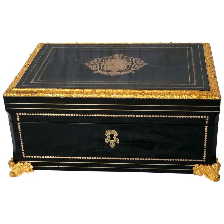 Napoleon III Boulle Marquetry Tortoiseshell Jewel Box, France, 19th Century