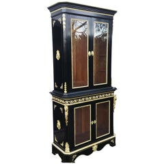 Rare Napoleon III Boulle Marquetry Cabinet Bookcase Cupboard Dresser, France