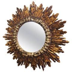 French Gilt Sunburst or Starburst Mirror