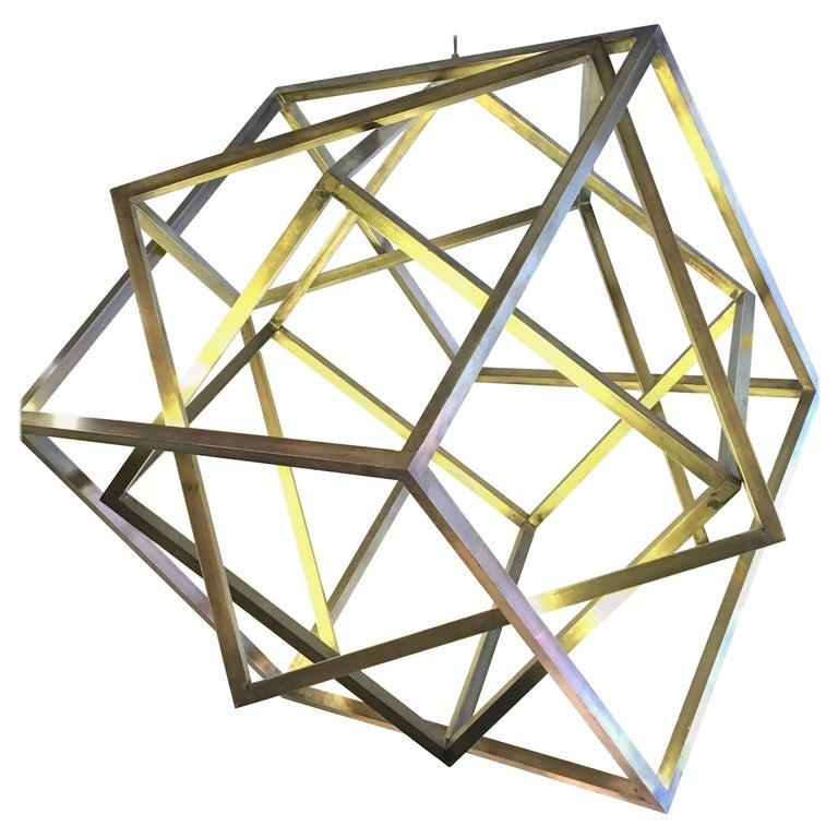 Monumental Cubic Suspension Pendant Chandelier