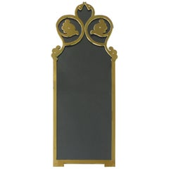 Brass and Smoked Glass Mirror Attributed to Mastercraft