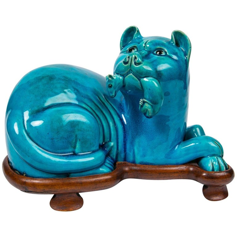 Chinese Turquoise Ceramic Cat with Custom Wood Stand