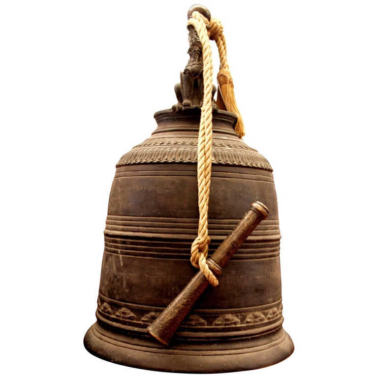 Burma Thailand Temple Monastery Bronze Bell 19th Century Decor