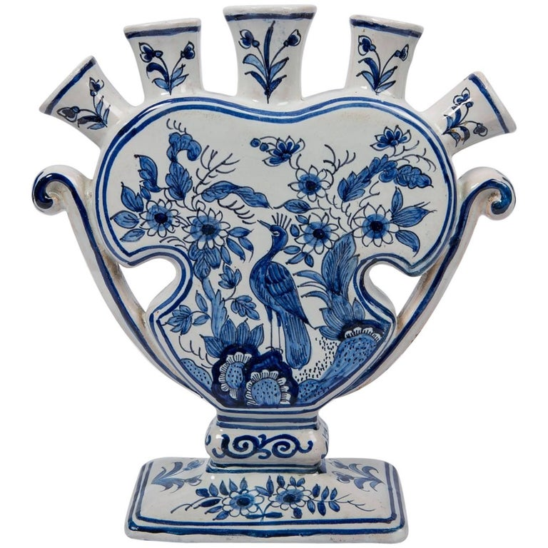 Delft Blue and White Tulipiere or Tulip Vase For Sale