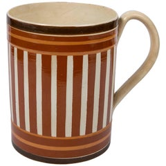 Antique Creamware Mochaware Mug with Stripes
