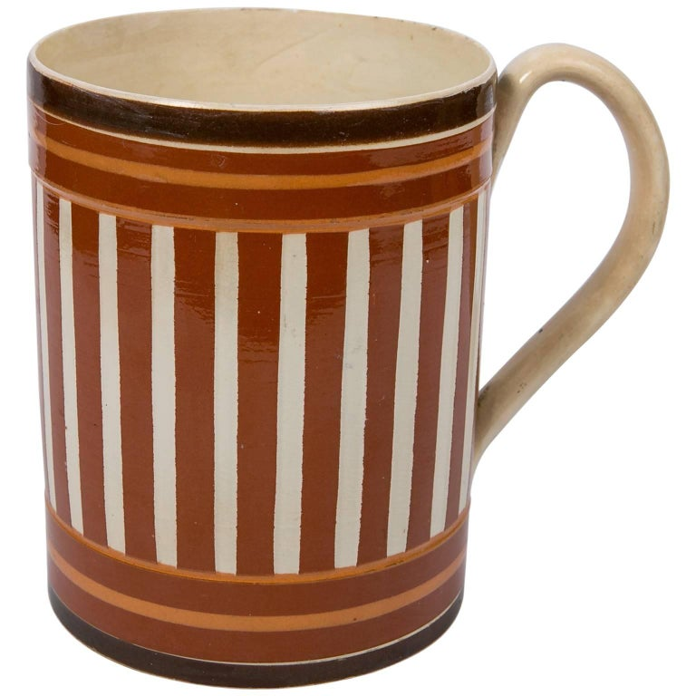 Antique Creamware Mochaware Mug with Stripes For Sale