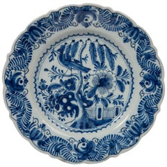 Antique Blue and White Delft Dish with Chinoiserie Decoration