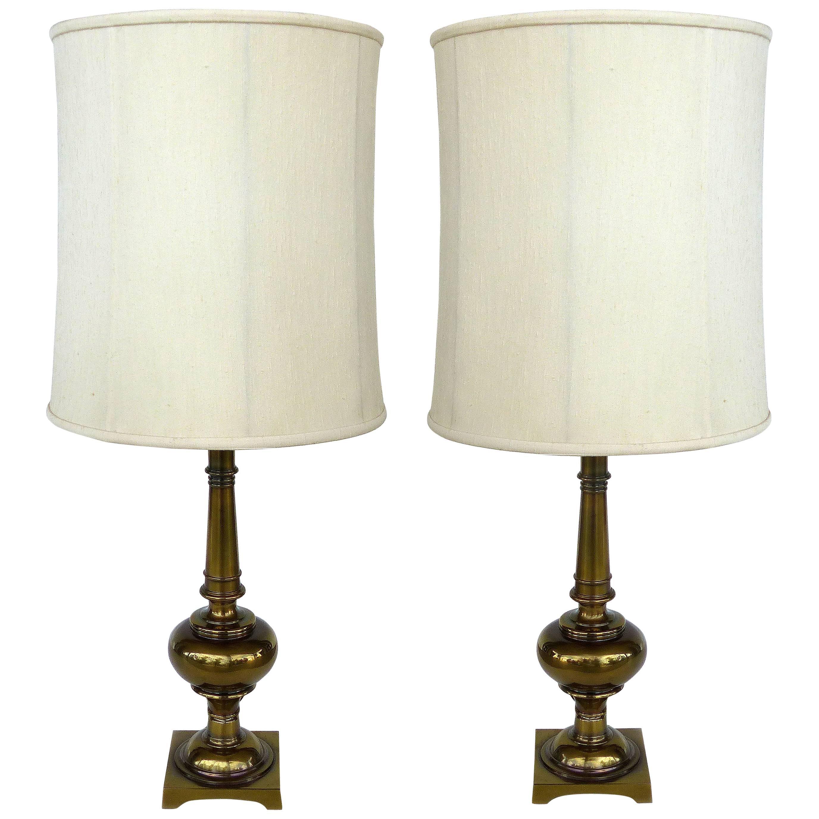Pair of Stiffel Brass Table Lamps with Original Stiffel Shades
