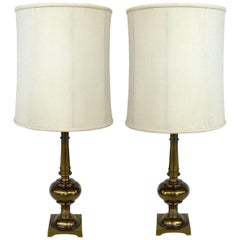 Pair of Stiffel Brass Table Lamps with Original Stiffel Shades