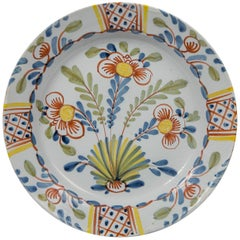 Colorful English Delft Charger with Tulips