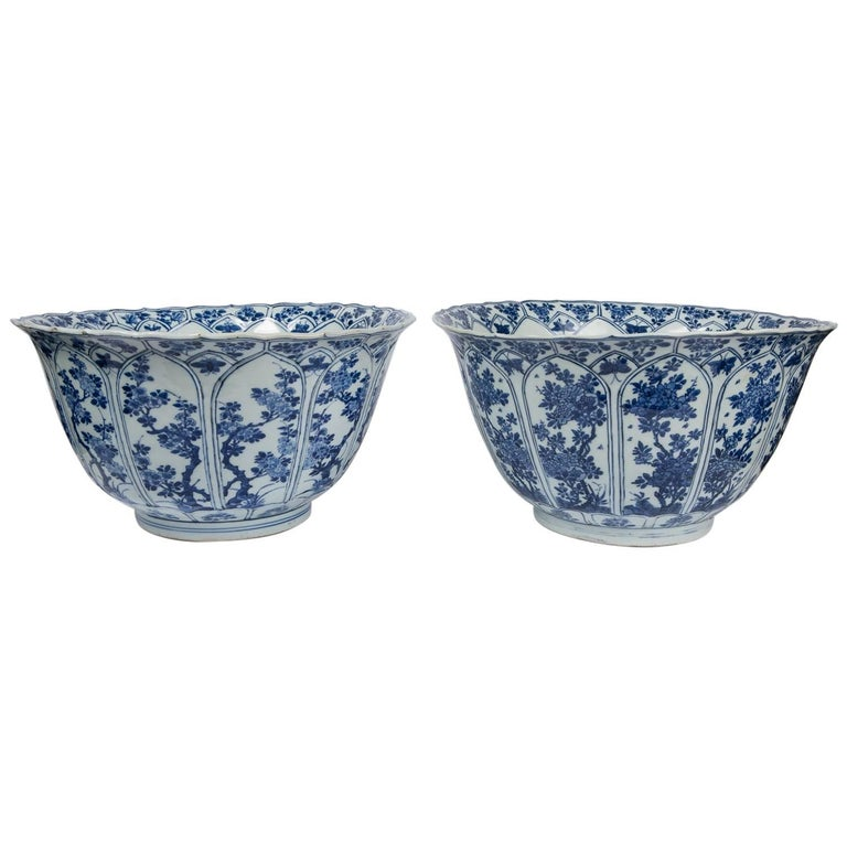 Pair of Antique Chinese Kangxi Blue and White Bowls