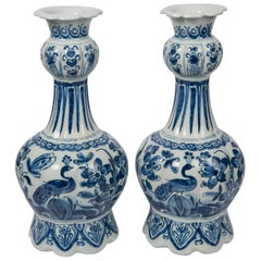 Pair Blue and White Dutch Delft Vases Showing Peacocks