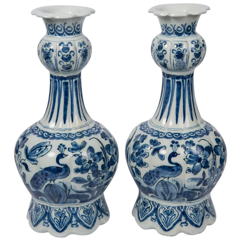 Pair Blue and White Dutch Delft Vases Showing Peacocks 1