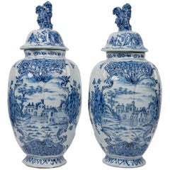 Antique Blue and White Delft Jars