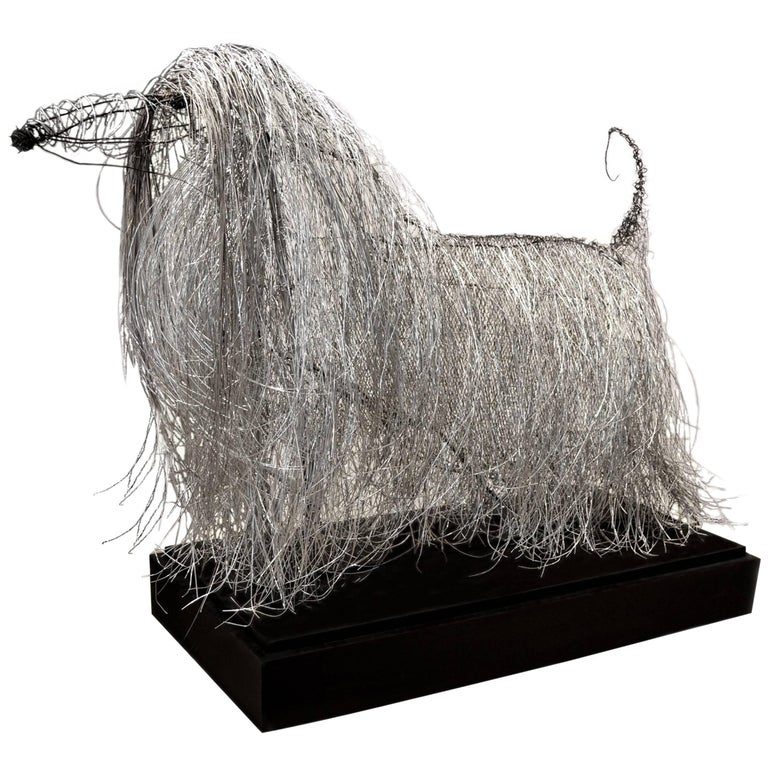 Large Wire Sculpture of an Afgan Hound by Artist Michael L. Jacques For Sale