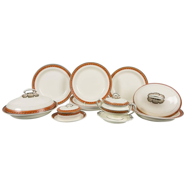 Antique Creamware Set of Dishes with Orange Borders