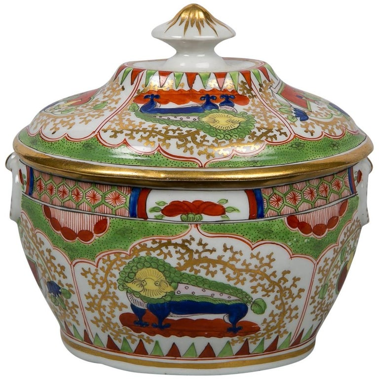 Antique Sugar Box Made by Chamberlains Worcester Bengal Tiger Pattern For Sale