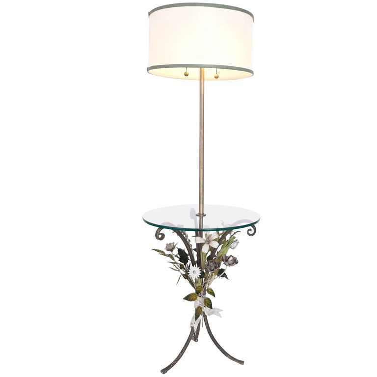 Floral Motif Tole Floor Lamp with Table by Marbro, Made in Italy, 1950s