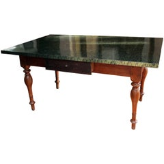 19th Century Red Cedar Wood Table, with Printed Grass and Silver Handle