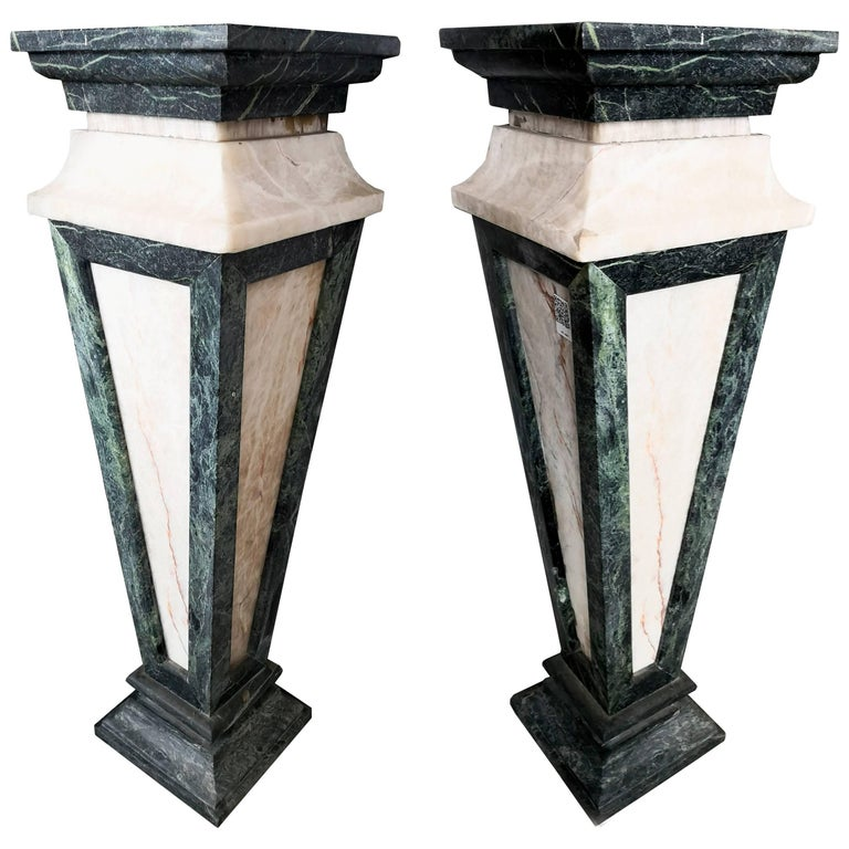 Pair of Tall Serpentine Marble and Honey Onyx Wall Pedestals