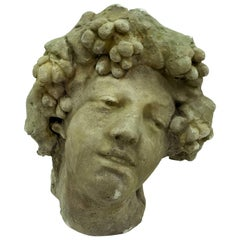 Bacco Stone Head, Made in Italy in Early 20th Century