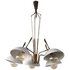 Brass and Painted Aluminium Ceiling Lamp by Lumen, 1950s