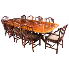 Bespoke Flame Mahogany Twin Pillar Dining Table and Ten Chairs