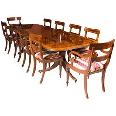 Flame Mahogany Regency Style Dining Table and Ten Chairs
