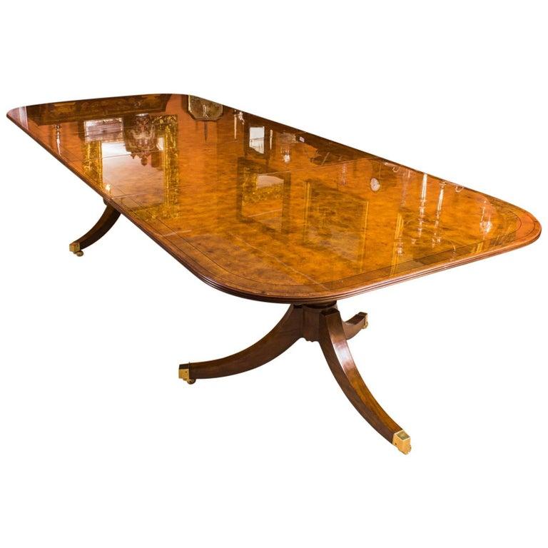 Bespoke Burr Walnut Regency Style Twin Pillar Dining Table