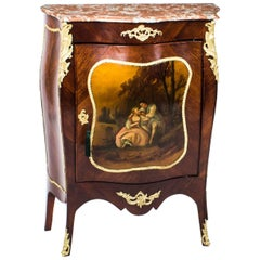 19th Century French Kingwood Vernis Martin Bombe' Side Cabinet