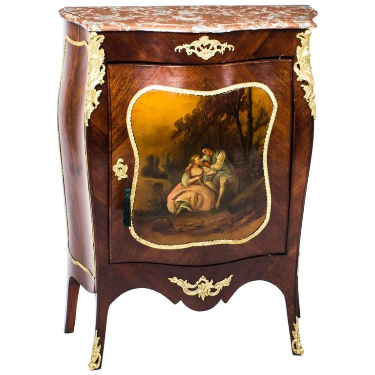 19th century french kingwood vernis martin bombe 39 side. Black Bedroom Furniture Sets. Home Design Ideas