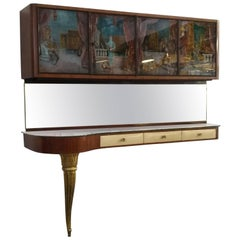 Painted Glass Mahogany Wood and Parchment Italian Console, 1950