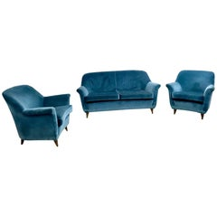 Mid Blue Velvet Living Room Set, Italy, 1950s