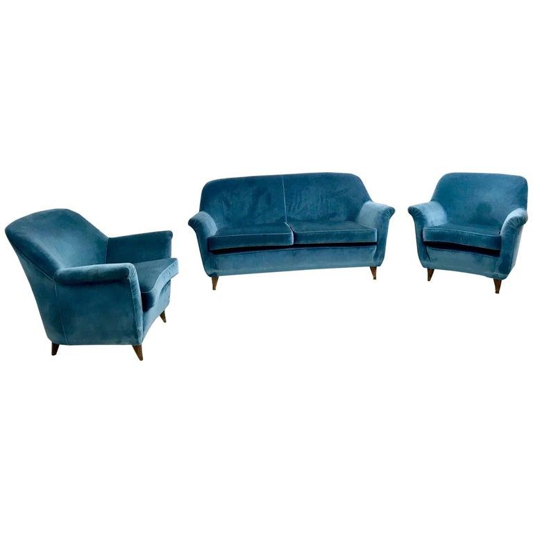 Mid Blue Velvet Living Room Set, Italy, 1950s