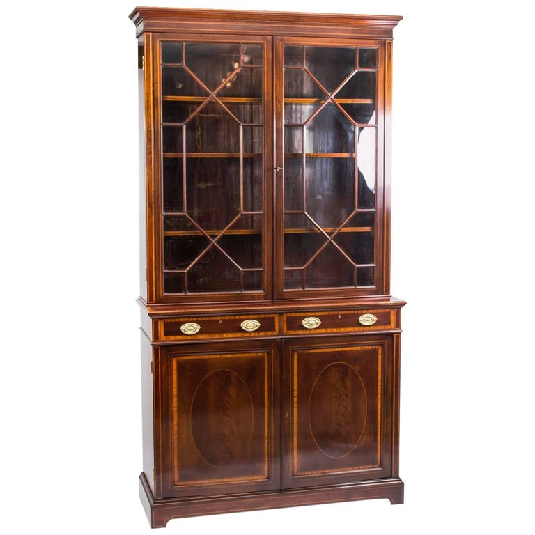Early 20th Century Edwardian Inlaid Mahogany Bookcase by Maple & Co