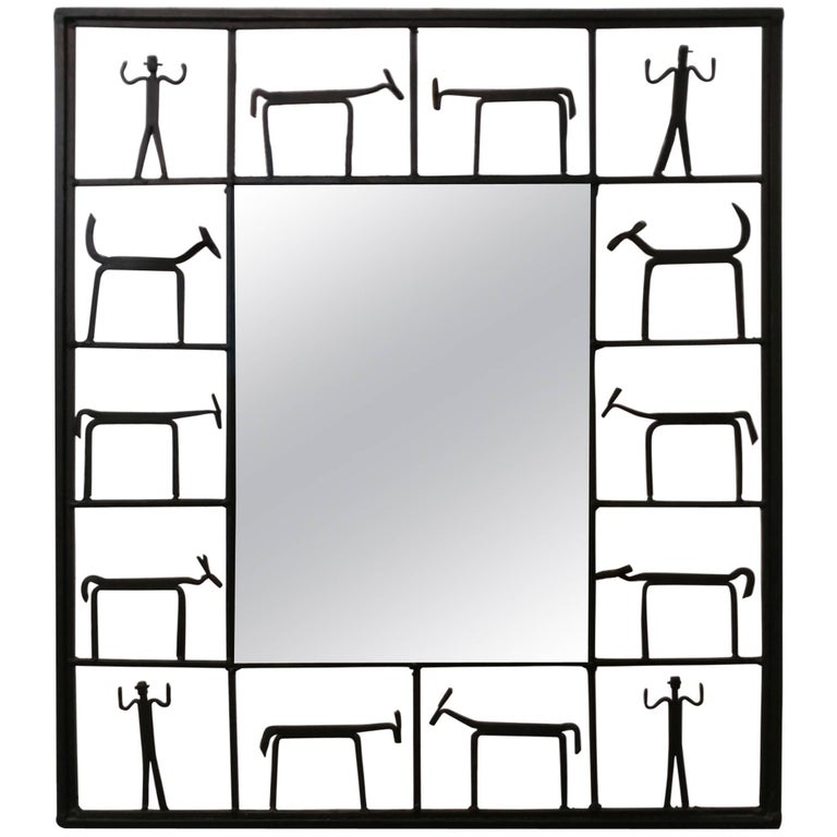 Modern Iron Figures Mirror by Frederick Weinberg, Offered by La Porte