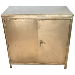 Midcentury Industrial Metal Steel Bar Cabinet Credenza