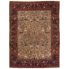 Early 20th Century Cream/Blue Pictorial Persian Kashan Carpet
