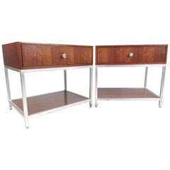 Pair of Contemporary Modern Single Drawer Bedside Tables
