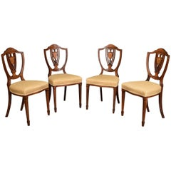 Set of Four Edwardian Rosewood Inlaid Side Chairs